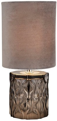 Textured Glass Base Table Lamp with Grey Shade