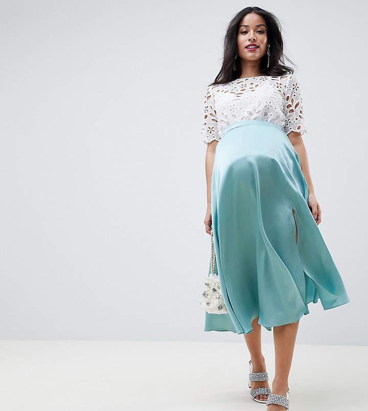 Asos DESIGN Maternity satin midi skirt with side split