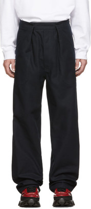 Raf Simons Navy Heroes and Losers Wide Fit Trousers