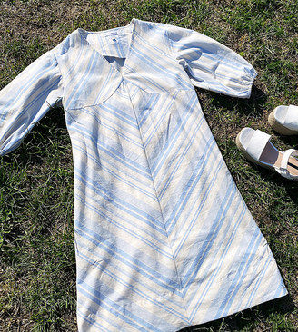 NATIVE YOUTH relaxed mini dress with puff sleeves in soft stripe