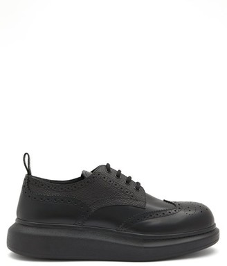 Alexander McQueen Exaggerated Sole Brogue-leather Derby Shoes - Black