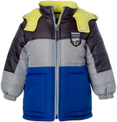 iXtreme Navy & Yellow Color Block Puffer Coat - Infant, Toddler & Boys