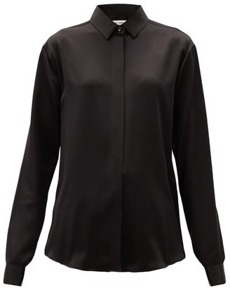 Saint Laurent Point-collar Silk-satin Blouse - Black