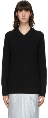 Helmut Lang Black Wool Cut-Out V-Neck Sweater