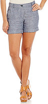 Jones New York Cross-Dye Washed Linen-Blend Cuffed Hem Shorts