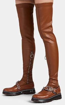Cédric Charlier Women's Leather Over-The-Knee Stockings - Med. brown