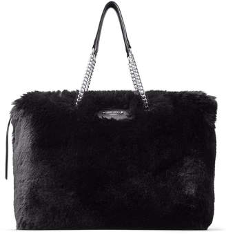 Jimmy Choo ALLEGRA Black Faux Fur Shoulder Bag with Chain Strap