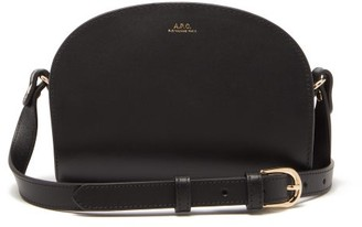 A.P.C. Half Moon Mini Smooth Leather Cross Body Bag - Womens - Black