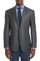 Canali Men's Big & Tall Classic Fit Plaid Wool Sport Coat