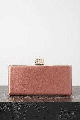 Jimmy Choo Celeste Faux Pearl And Crystal-embellished Satin Clutch - Pink