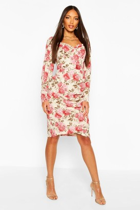 boohoo Floral Print Square Neck Puff Sleeve Midi Dress