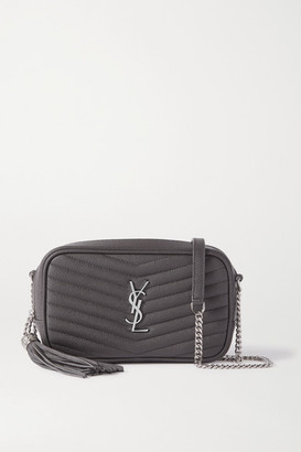 Saint Laurent Lou Mini Quilted Textured-leather Shoulder Bag - Dark gray