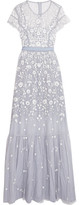 Needle & Thread Meadow Embroidered Tulle Gown - Light blue