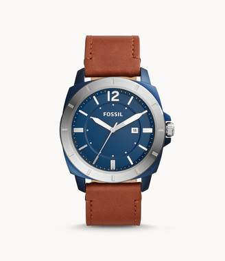 Fossil Privateer Sport Three-Hand Date Brown Leather Watch Jewelry