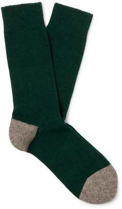 Anonymous Ism Two-Tone Wool-Blend Socks