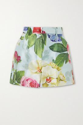 Dolce & Gabbana Floral-print Silk Shorts - Blue