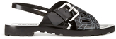 Kenzo Women's Kruise Buckle Leather Sandals Black