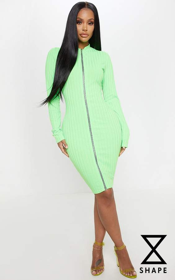 PrettyLittleThing Shape Neon Lime Ribbed Zip Front Bodycon Dress