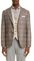 Eleventy Trim Fit Plaid Wool Blend Sport Coat