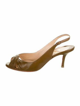 Christian Louboutin Leather Cutout Accent Slingback Pumps Brown