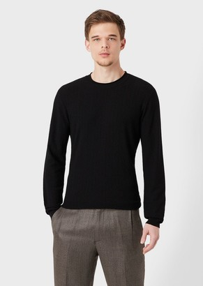 Giorgio Armani Virgin Wool Sweater With Chevron Design
