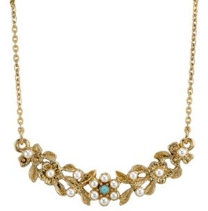"""Downton Abbey Gold-Tone Simulated Pearl and Imitation Turquoise Necklace 16"""" Adjustable"""