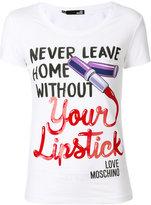 Love Moschino Lipstick print T-shirt