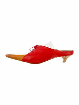 Rosie Assoulin Leather Pointed-Toe Mules Blue
