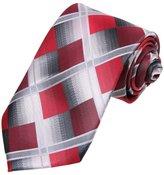DAA7C15B Red Grey Checkered Microfiber Tie Italy Series Tie By Dan Smith
