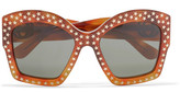 Gucci Studded Square-frame Acetate Sunglasses - Brown