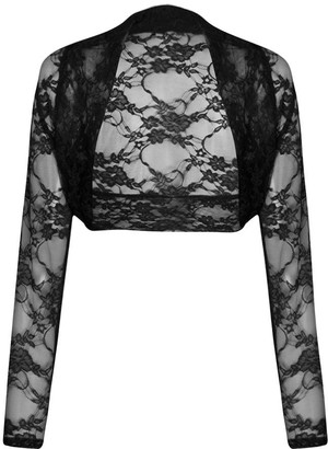 Unknown Fast fashion womens shrug long sleeves flowery lace open front