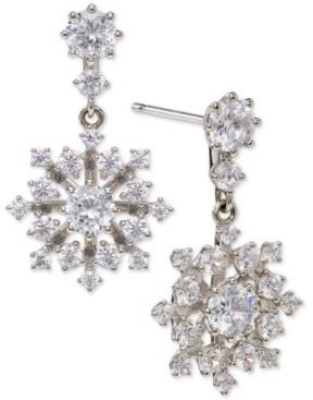 Eliot Danori Silver-Plated Cubic Zirconia Snowflake Drop Earrings, Created for Macy's