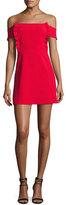 BA&SH Alie Off-the-Shoulder Mini Cocktail Dress, Red