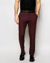 Asos Slim Suit Trousers In Burgundy