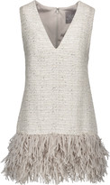 Lela Rose Fringed metallic tweed top