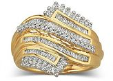 JCPenney FINE JEWELRY 1/2 CT. T.W. Diamond Ring In 14K Gold Over Sterling Silver