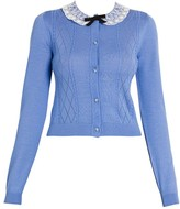 Miu Miu Lace-Collar Pointelle-Knit Cashmere Cardigan