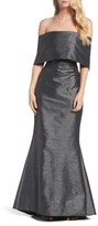 Vince Camuto Women's Ruched Metallic Knit Off The Shoulder Gown