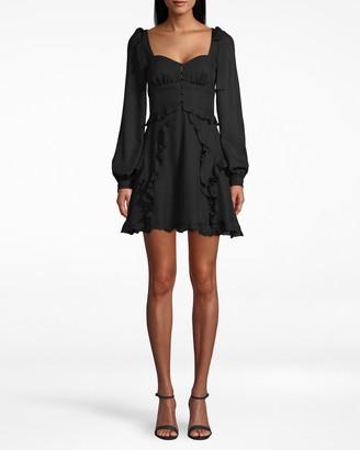 Nicole Miller Silk Tie Shoulder Mini Dress
