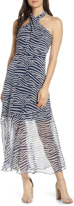 Sam Edelman Graphic Halter Chiffon Dress