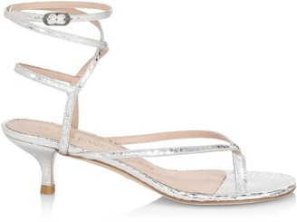 Stuart Weitzman Jimena Metallic Snakeskin-Embossed Leather Thong Sandals