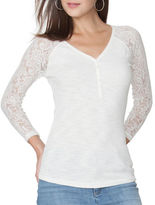 Chaps Petite Lace-Sleeve Henley