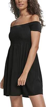 Urban Classics Women's Ladies Smoked Off Shoulder Dress Dress Dress,XS (Manufacturer Size: 34)