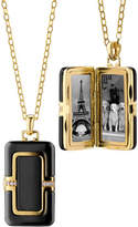 "Monica Rich Kosann 18k Ceramic Rectangle Locket with Diamonds, 32""L"