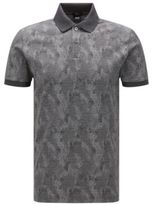 Hugo Boss Phillipson Slim Fit, Cotton Patterned Polo Shirt M Charcoal