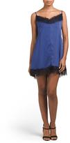 Juniors Vintage Crushed Faux Silk Slip Dress