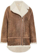 MM6 MAISON MARGIELA Oversized Shearling-lined Nubuck Coat - Brown