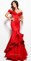 Mac Duggal Off the Shoulder Sweetheart Tiered Taffeta Gown
