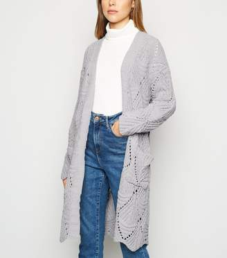 New Look Cameo Rose Diamond Cable Knit Cardigan