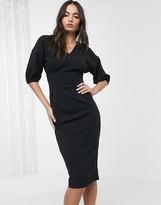 Asos Design DESIGN midi bodycon dress in black